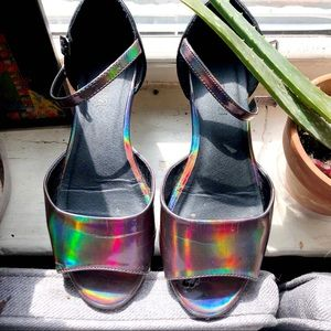 F21 Holographic sandals
